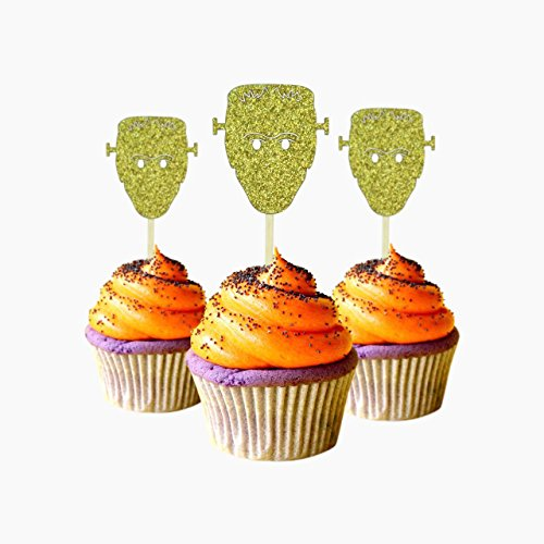Monster Halloween Cupcake Topper 12 pieces per Pack Decoration Cake glitter Card Stock Gold