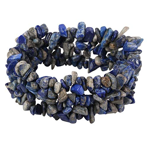 YACQ Natural Lapis Lazuli Beads Stretch Cuff Bracelet 5 Layer Braided Chunky Chakra Bracelet Handmade Jewelry for Women Teen Girls 7.5""
