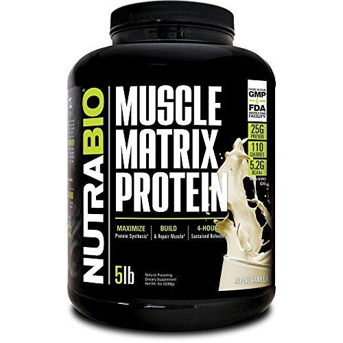 NutraBio Muscle Matrix - Whey Protein Blend (Vanilla, 5 - Essential Powder Protein