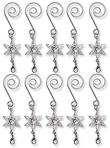 BANBERRY DESIGNS Christmas Ornament Hooks - Set of 10 Decorative S Hooks with Star Charm and a Lobster Claw Attachment - Decorative Hangers -