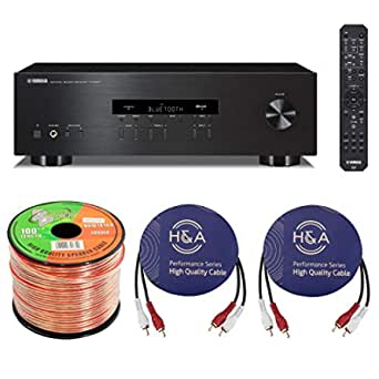 Yamaha R-S202 Stereo Receiver with Bluetooth Bundle with Speaker Zip Wire 100-foot Spool, 2 Pack H&A RCA Male to 2 RCA Male Stereo Audio Cable 10-Foot