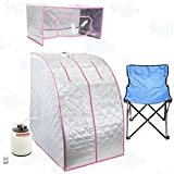 Silver/Pink Portable Therapeutic Personal Steam Sauna Spa Room Headcover HerbBox