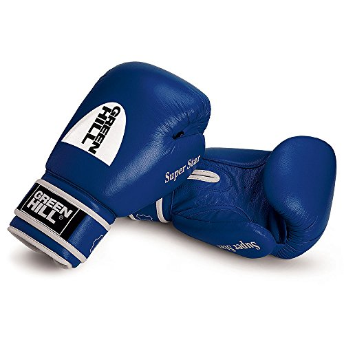 Boxing Gloves ''SUPER STAR'' made of Cowhide Leather for professional and amateur fights (12-Oz, Blue) by Greenhill