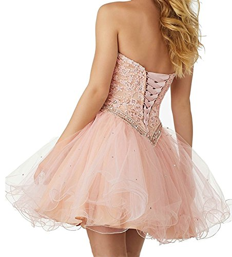 Lace Ball Gown Short BessDress Sweetheart Homecoming Bodice Coral Sequins Dresses Party BD334 4Bap5gwxqp
