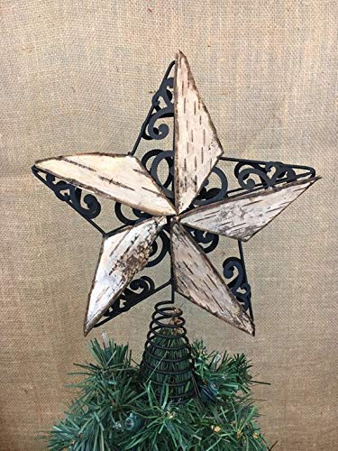 Rustic Star Christmas Tree Topper For Woodland Rustic Themed Holiday Decoration