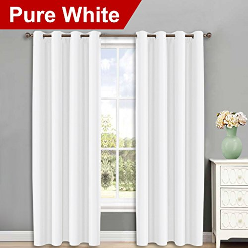 Pure White Curtains for Sliding Door - 52 by 95, 2 Pieces, Window Treatment Thermal Insulated Grommet Room Darkening Curtain Panels by NICETOWN (Room Darkening Grommet Curtain Panels)