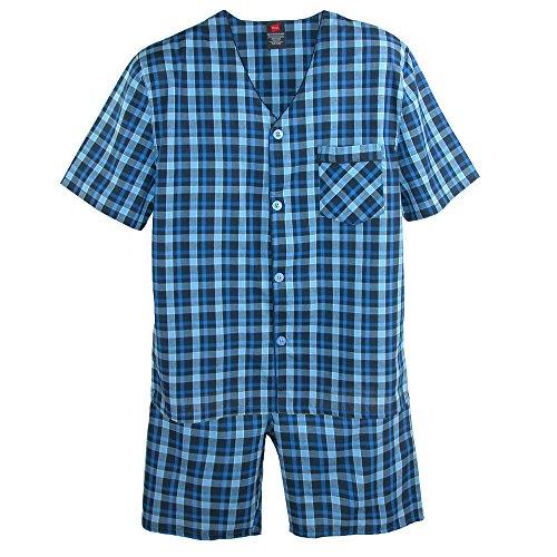 Hanes Men's Short Sleeve Short Leg Pajama Set, Small, New Blue