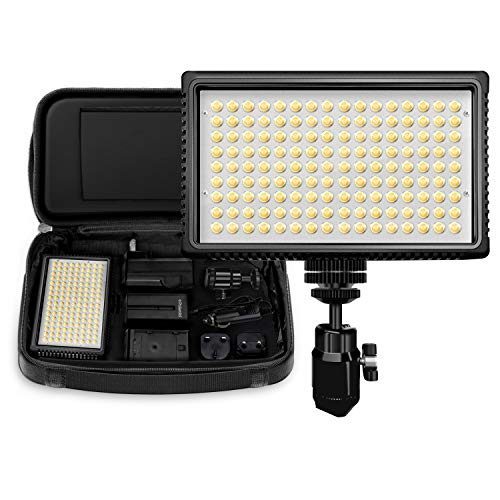 Polaroid Dimmable LED Camera/Video Light 144 w/ Variable Color Temperature, Li-Ion Battery & Charger, Swivel Head, EU/UK Adapters, Diffuser Filter & Carry Bag, 2+ Hour Run Time