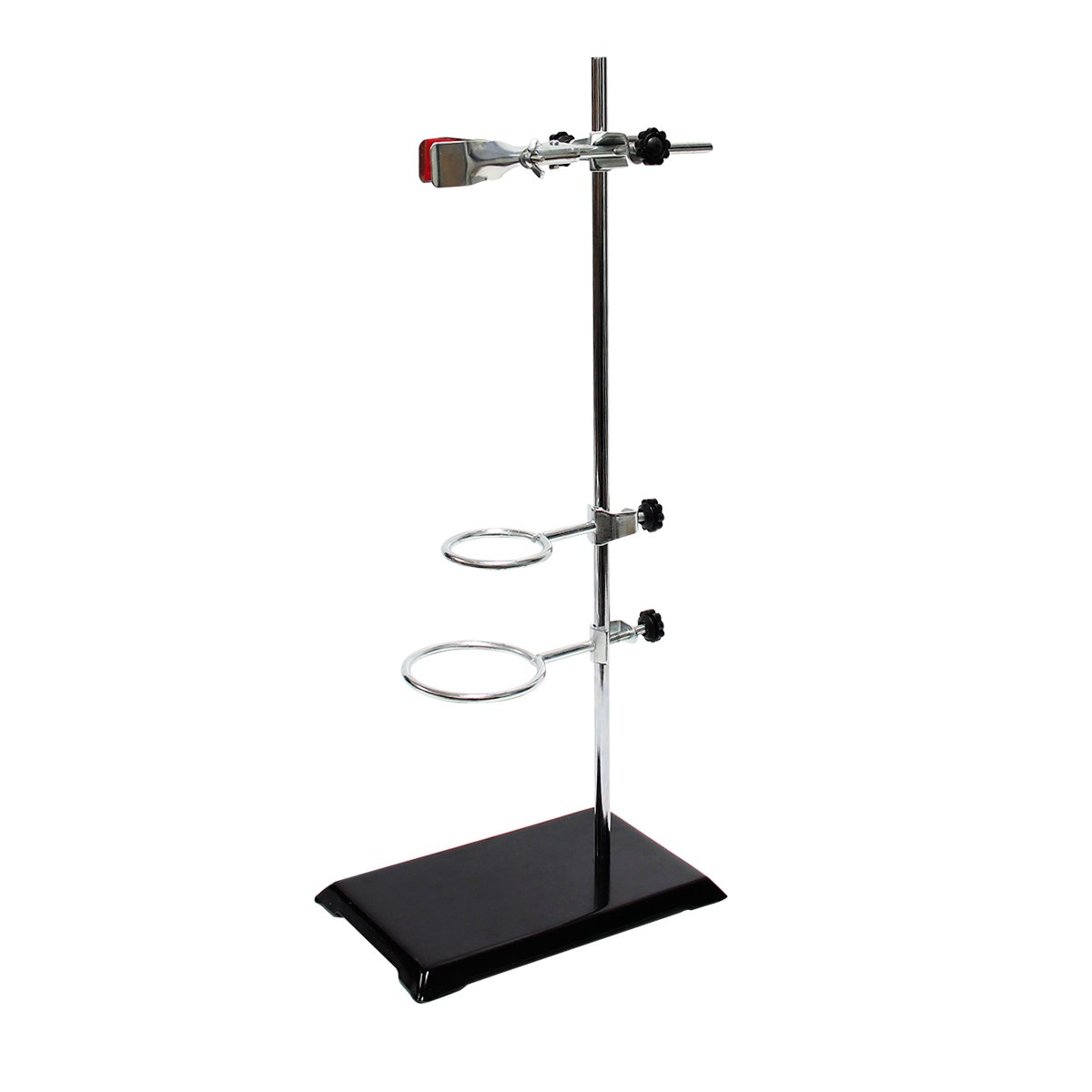 Wisamic Laboratory Grade Metalware Set - with Support Stand (8.3''x5.5''), 2 Retort Rings (Dia. 2.2''/2.6''), Rod (Length 19.7'') and Burette Clamp