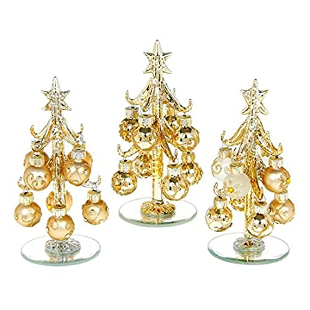 Decorated Glass Xmas Tree With Baubles Gold Small Amazon Co Uk