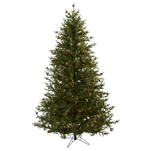 Nearly Natural 5373 7.5-Feet Classic Pine and Pine Cone Christmas Tree, Green