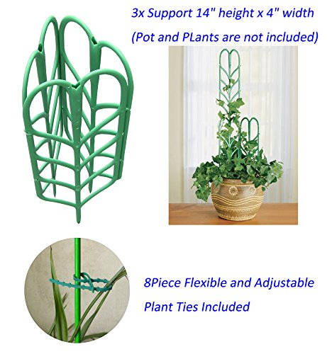 Potted Plant Growing Support 3-Pack, Tomato Cage, 3Piece Fruits and Vegetables Climbing Staking System (8Piece Flexible Adjustable Plant Ties Included) Adjustable Plant Climbing Trellis Rose Lattice