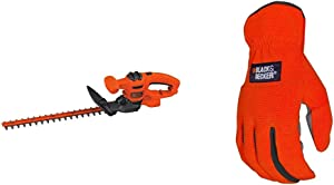 BLACK+DECKER Hedge Trimmer with Easy-Fit All Purpose Glove (BEHT150 & BD505L)