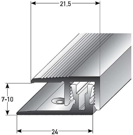 3 metros (3 x 1 m) (clic sistema) - Perfil de acabado laminado parquet , por altura: 7 – 10 mm, 21,5 mm de ancho, bipartito, aluminio anodizado, incluye tornillos y tacos - color: bronce claro: Amazon.es: Hogar