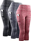 Neleus Women's 3 Pack Tummy Control High Waist Yoga Capri Leggings with Pockets,9034,Black,Grey,red,S,EU M