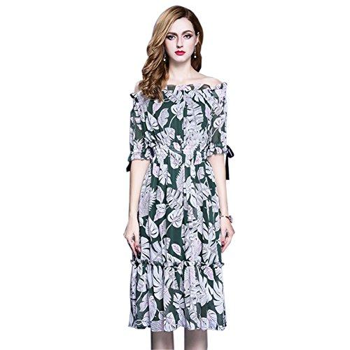Shoulder Off a Dress cotyledon line Half Beach Women`s Dresses Sleeve Fq0xIPt