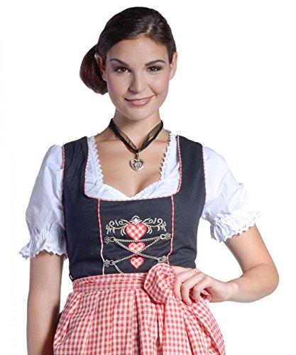 Midi-Dirndl Lena - schwarz/rot/weiss - mit Herzen - 32-46, Größe:46