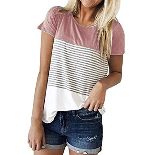 Sleeve Short Tee Ringer Sheer (HGWXX7 Womens Summer Casual Stripe Short Sleeve Loose Cotton Tops Blouse T-Shirt (XL, A-Pink))