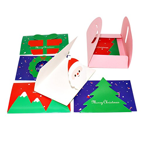 12 Cards 3D Pop-up Christmas Greeting Holiday Cards - Santa and Snowman and Christmas Tree and Wreath and Gift box