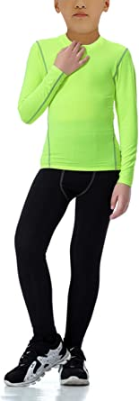 Boys Thermal Underwear Set Long John Skin Base Layer Tops and Bottom Moisture Wicking