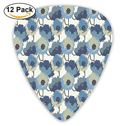 Newfood Ss Ombre Flowers Romantic Perennial Bouquet Florets Digital Watercolor Effect Art Image Guitar Picks 12/Pack Set