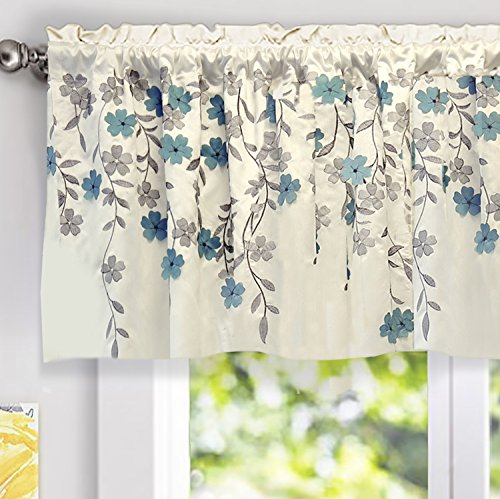 DriftAway Isabella Faux Silk Embroidered Kitchen Swag Valance, Embroidered Crafted Flower, Single, 60x18+2