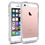 clear back bumper iphone 5s - iPhone SE 5S 5 Clear Phone Case Cover, LOEV Hybrid Protective Case with Drop Proof PC Frame Bumper and Shock-Absorption Soft TPU Clear Back Cover for Apple iPhone 5/5S/SE – Pearl White