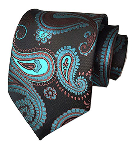 Secdtie Men's Black Blue Tie Floral Fashion Woven Silk Paisley Party Necktie A08