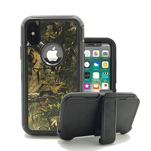 iPhone XR Cover, Harsel Heavy Duty Defender Camo High Impact Shock Resistant Rugged Dust Proof Military Grade Durable Protective Bumper Armor Case with Belt Clip for Apple iPhone XR (Forest Black)