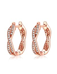 Rose Gold-Plated Silver Hoop Earrings for Women Cubic Zirconia Twisted Earrings By Presentski