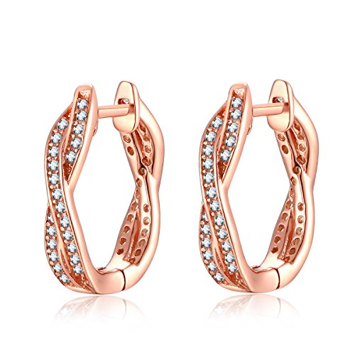 (Rose Gold-Plated Silver Hoop Earrings for Women Cubic Zirconia Twisted Earrings By Presentski)