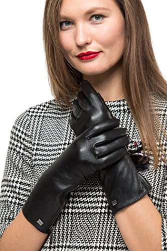 Lond Sleeve Leather Zipper Gloves For Women, Touchscreen Cold Weather Long Sleeve Gloves - With Thinsulate Liner - Black - X-Large