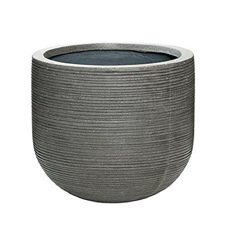 Elegant Round Horizontal Ridged Ficonstone Gray Flower Pot 10