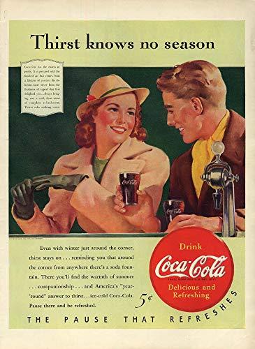 Thirst knows no season Coca-Cola ad 1940 young couple soda fountain Sundblom L