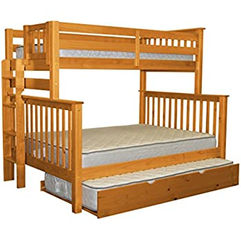 Bedz King Bunk Beds Twin Over Full Mission Style With End Ladder And A Twin  Trundle