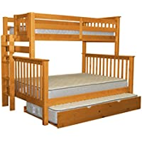 Bedz King Bunk Beds Twin over Full Mission Style with End Ladder and a Twin Trundle, Honey