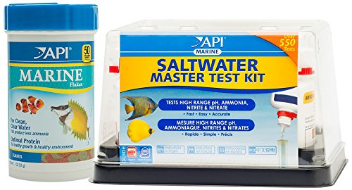 API Marine Saltwater Master Test Kit and Flakes Fish Food Bundle (Test Kit Freshwater Saltwater)