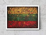 Lithuanian Flag, Hand-Painted Flag of Lithuania, Distressed Flag, Vintage Mixed Media Art, Rustic, Industrial Style, Flag Painting