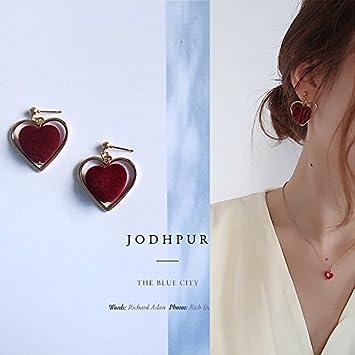 33435d6f3e73 Amazon.com   Qiao Yu Korean jewelry simple hollow love peach velvet  heart-shaped earrings earrings ear clip without pierced ears can wear  earrings   Beauty