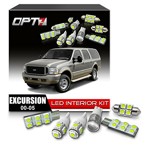 OPT7 12pc Interior LED Replacement Light Bulbs Package Set for 00-05 Ford Excursion | (Ford Excursion Interior)