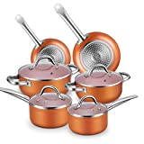 Nonstick Cookware Set, Chitomax Hard Porcelain Enamel Aluminum Cookware Sets 10-Piece with Heat Evenly Cookware Base Suitable for All Stovetops (Oven Safe to 500℉)