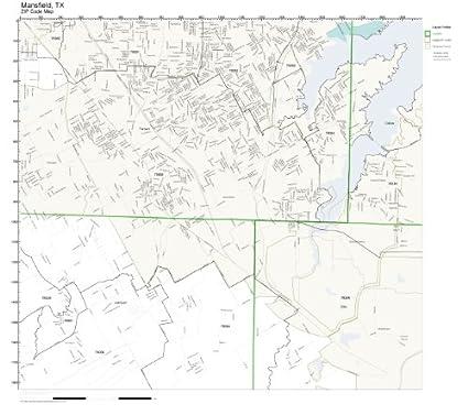 Amazon.com: ZIP Code Wall Map of Mansfield, TX ZIP Code Map ... on
