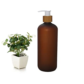 4c1e0e7c5b11 500ml 17oz Dark Brown Empty Refillable Frosted Plastic Shampoo Shower Gel  Packing Bottle Container Jar with Natural Bamboo Pump for Makeup Cosmetic  ...