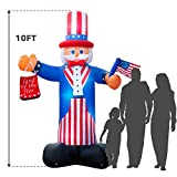 Holidayana Giant 10 Ft. Tall 4th of July Inflatable Uncle Sam Inflatable Featuring Lighted Interior/Airblown Inflatable 4th of July Decoration with Built in Fan and Anchor Ropes