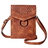 MINICAT Women Portable Small Crossbody Bags Cell Phone Purse Wallet With Credit Card Holder(Brown)