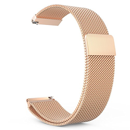 Gear S3 Watch Band, MoKo Milanese Loop Stainless Steel Bracelet Smart Watch Strap for Samsung Gear S3 Frontier / S3 Classic / Moto 360 2nd 46mm Smartwatch, Rose GOLD (NOT FIT S2 & S2 Classic & Fit2)