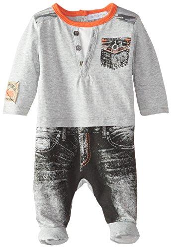 Petit Lem Baby-Boys Newborn Denim Biker Sleeper, Grey, Newborn