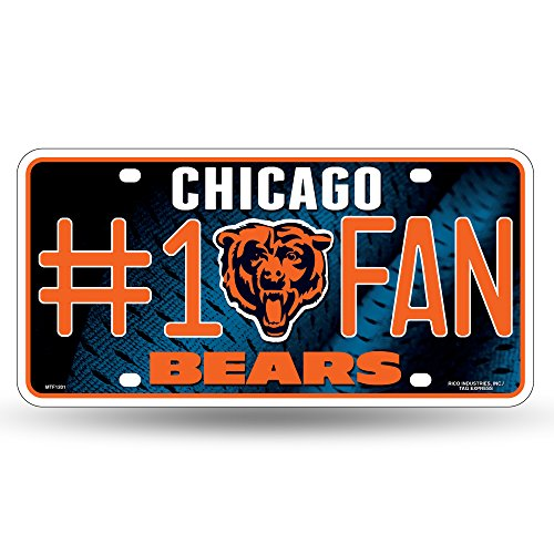- NFL Chicago Bears #1 Fan Metal License Plate Tag