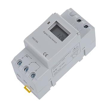 Temporizador - SODIAL(R)Interruptor de rele de tiempo de carril DIN Digital LCD Temporizador programable de potencia DC 12V 16A: Amazon.es: Electrónica