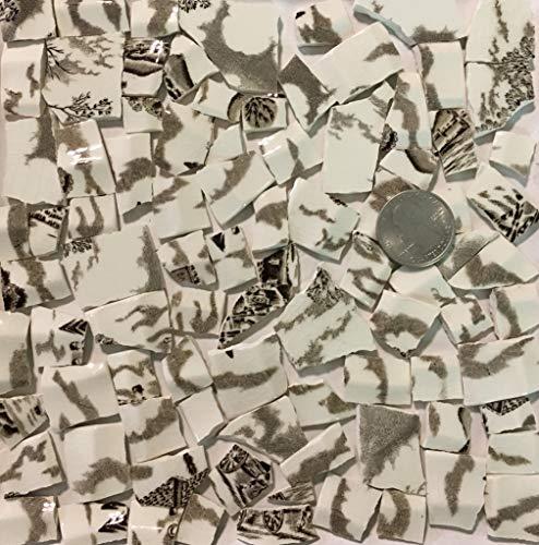 Mosaic Art & Crafts Supply ~ Small Brown & White Transferware Tiles (B915)